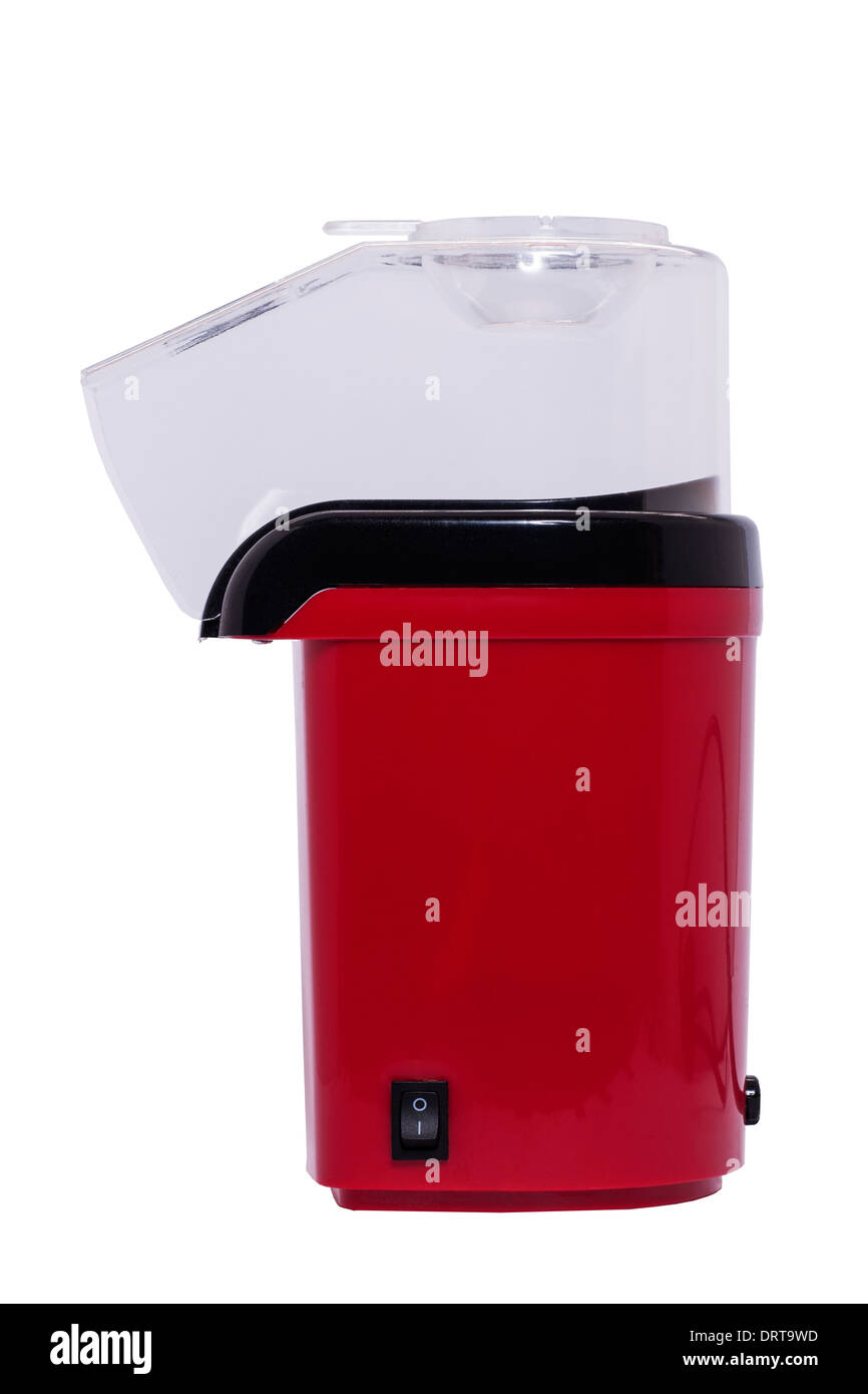 Una máquina de hacer palomitas de maíz eléctrico sobre un fondo blanco. Imagen De Stock
