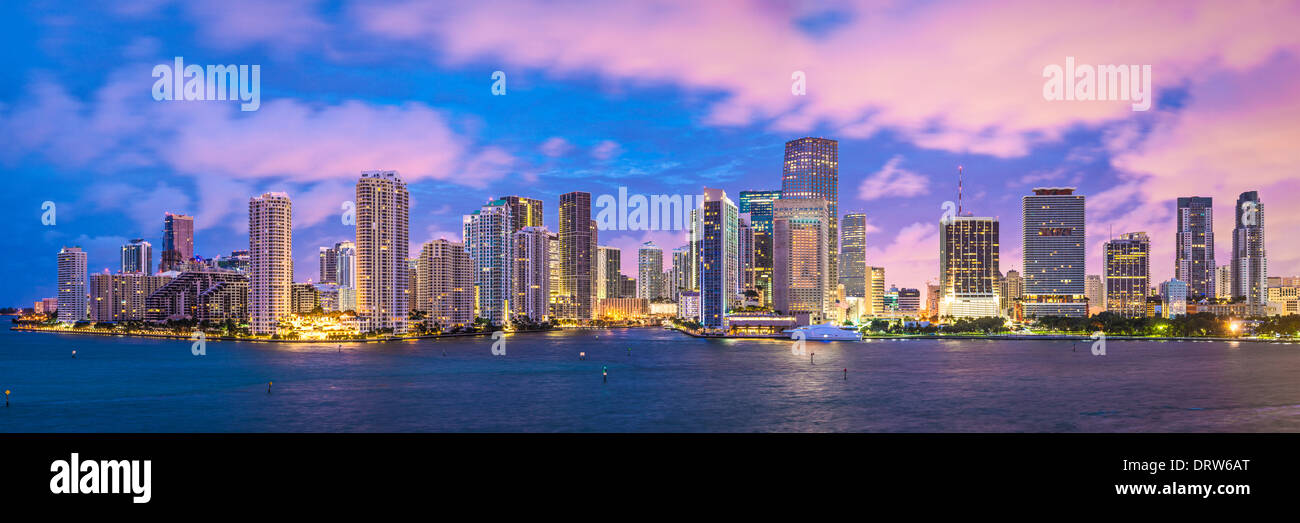 Miami, Florida, EE.UU skyline panorama. Foto de stock