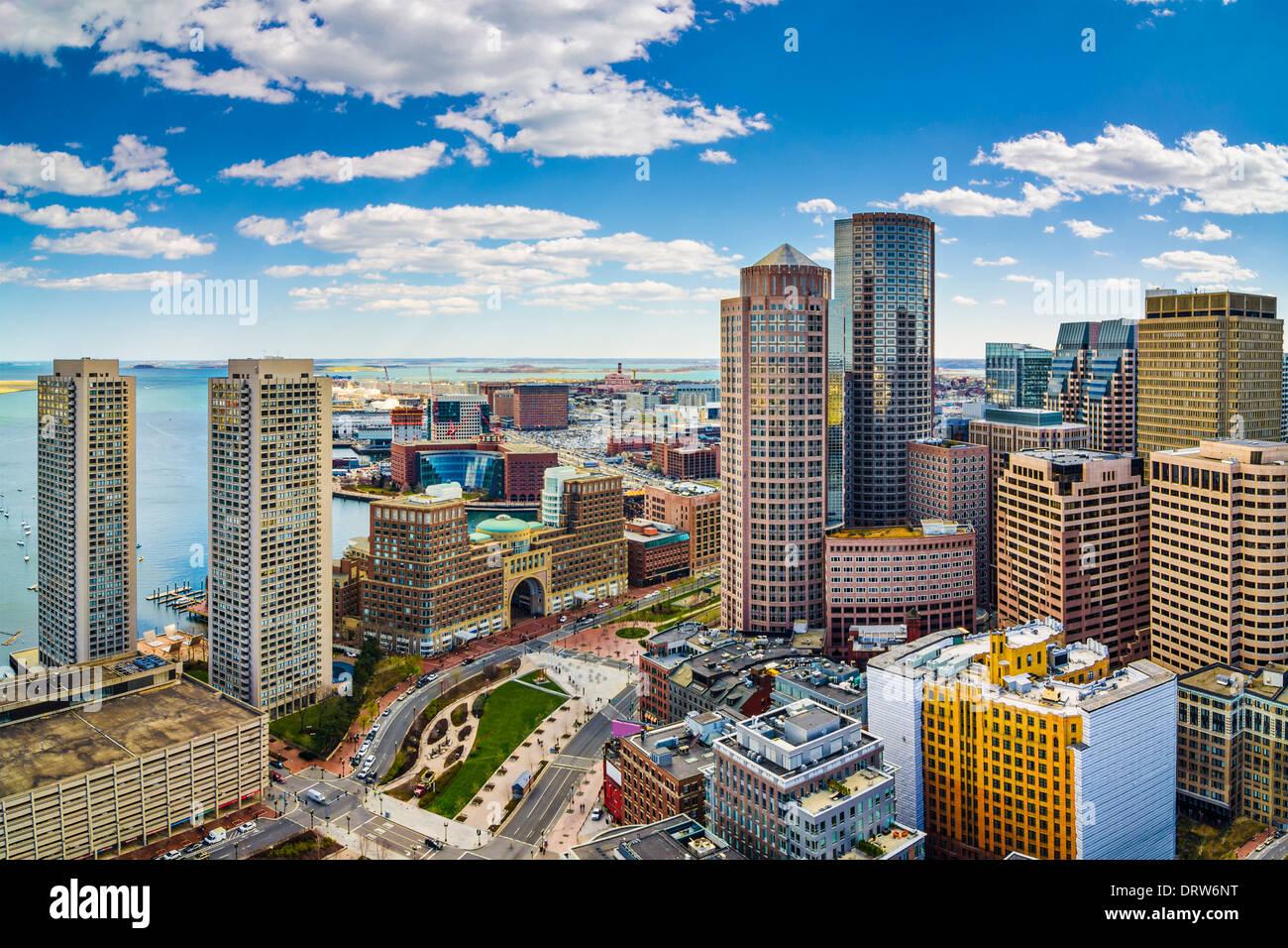 Vista aérea de Boston, Massachusetts y el horizonte Imagen De Stock