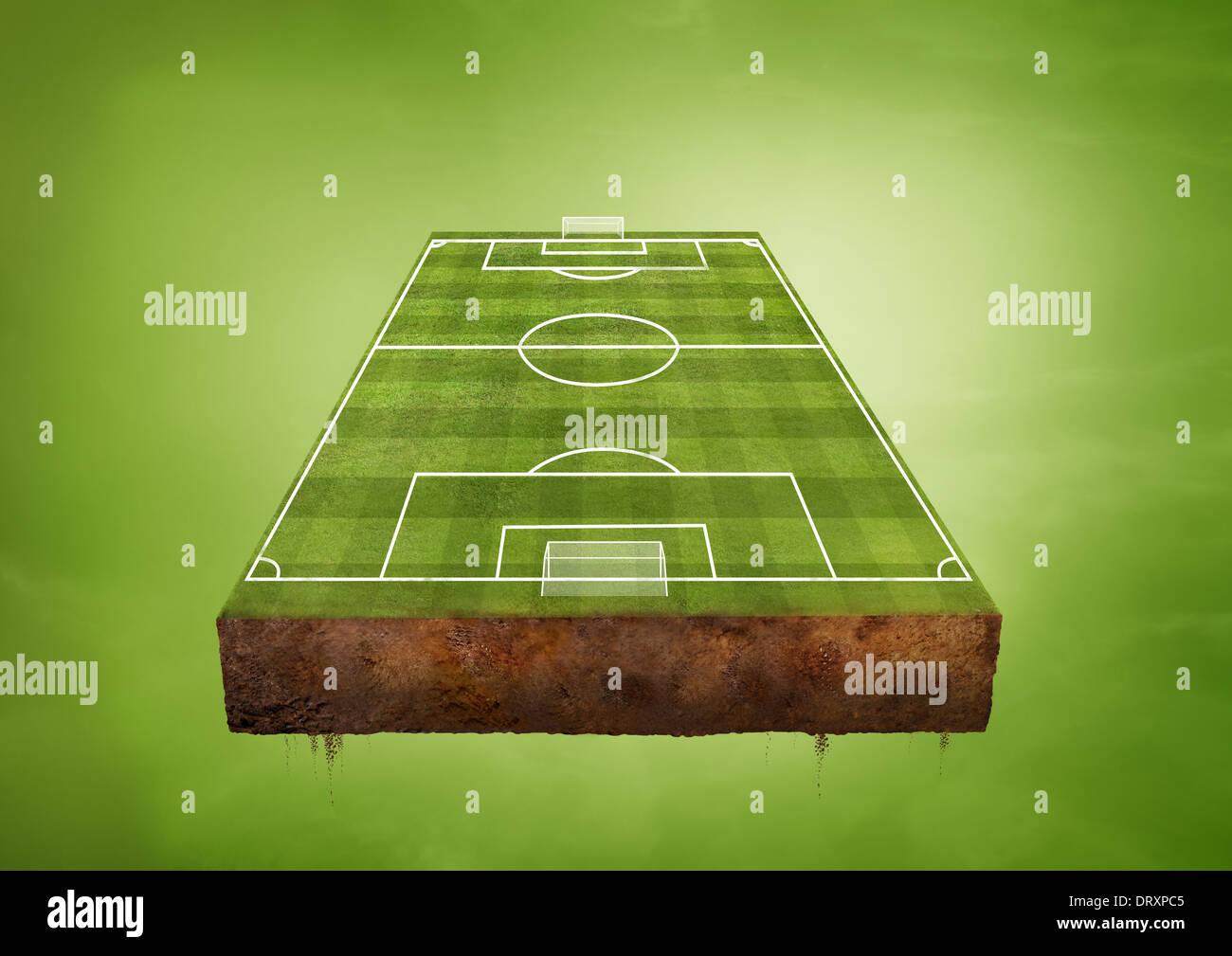 Un campo de fútbol verdes flotantes. Concepto de deportes. Imagen De Stock