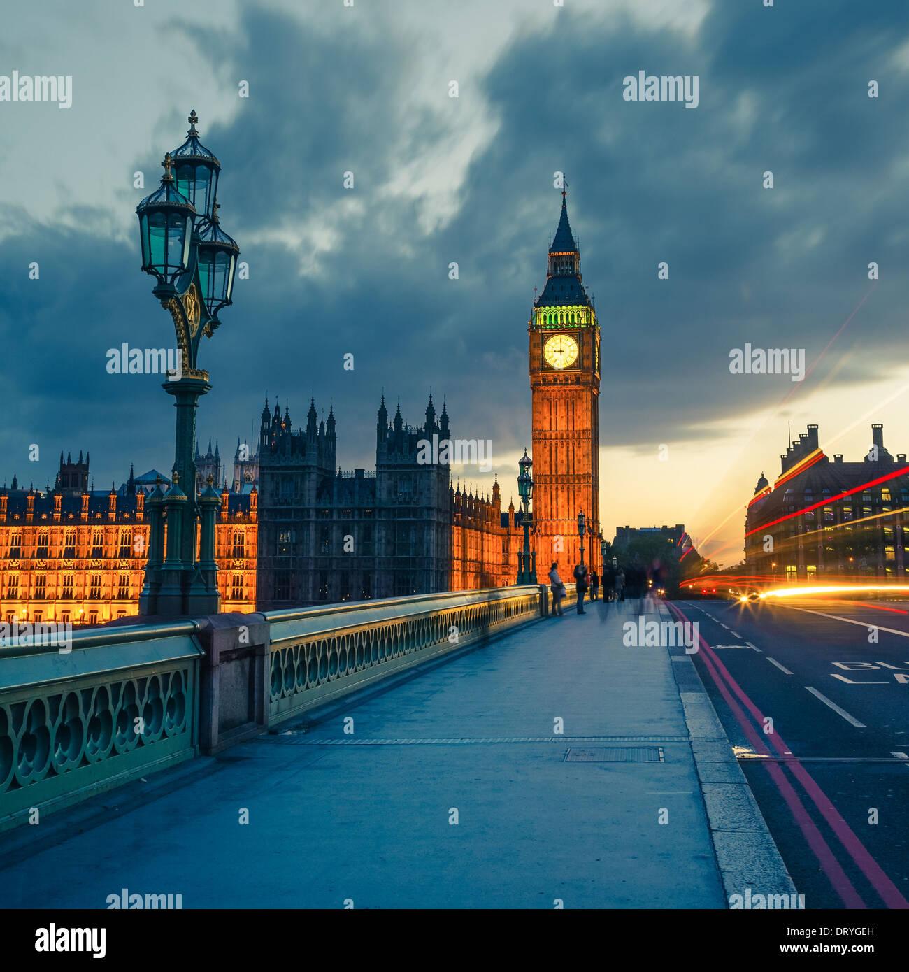 Big Ben de noche, Londres Imagen De Stock