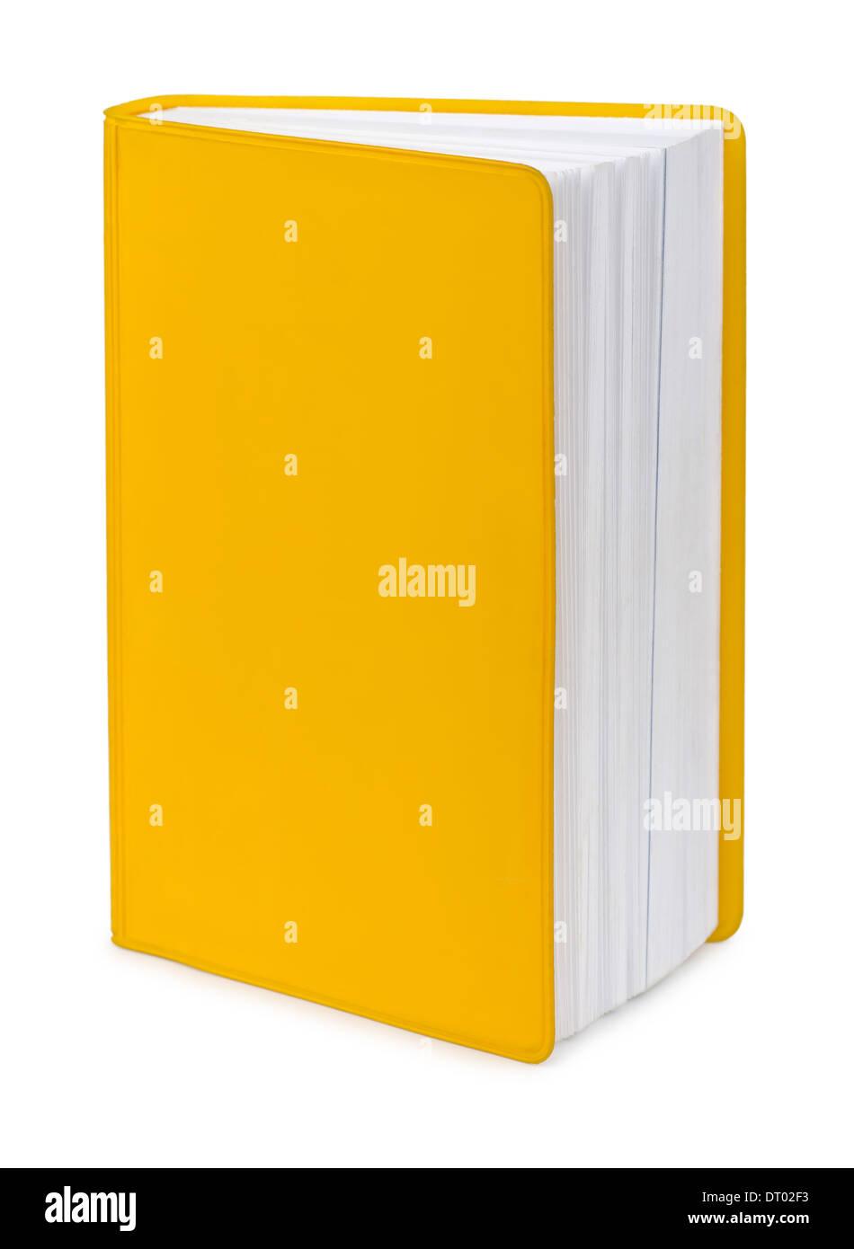Libro amarillo blanco aislado en blanco Imagen De Stock