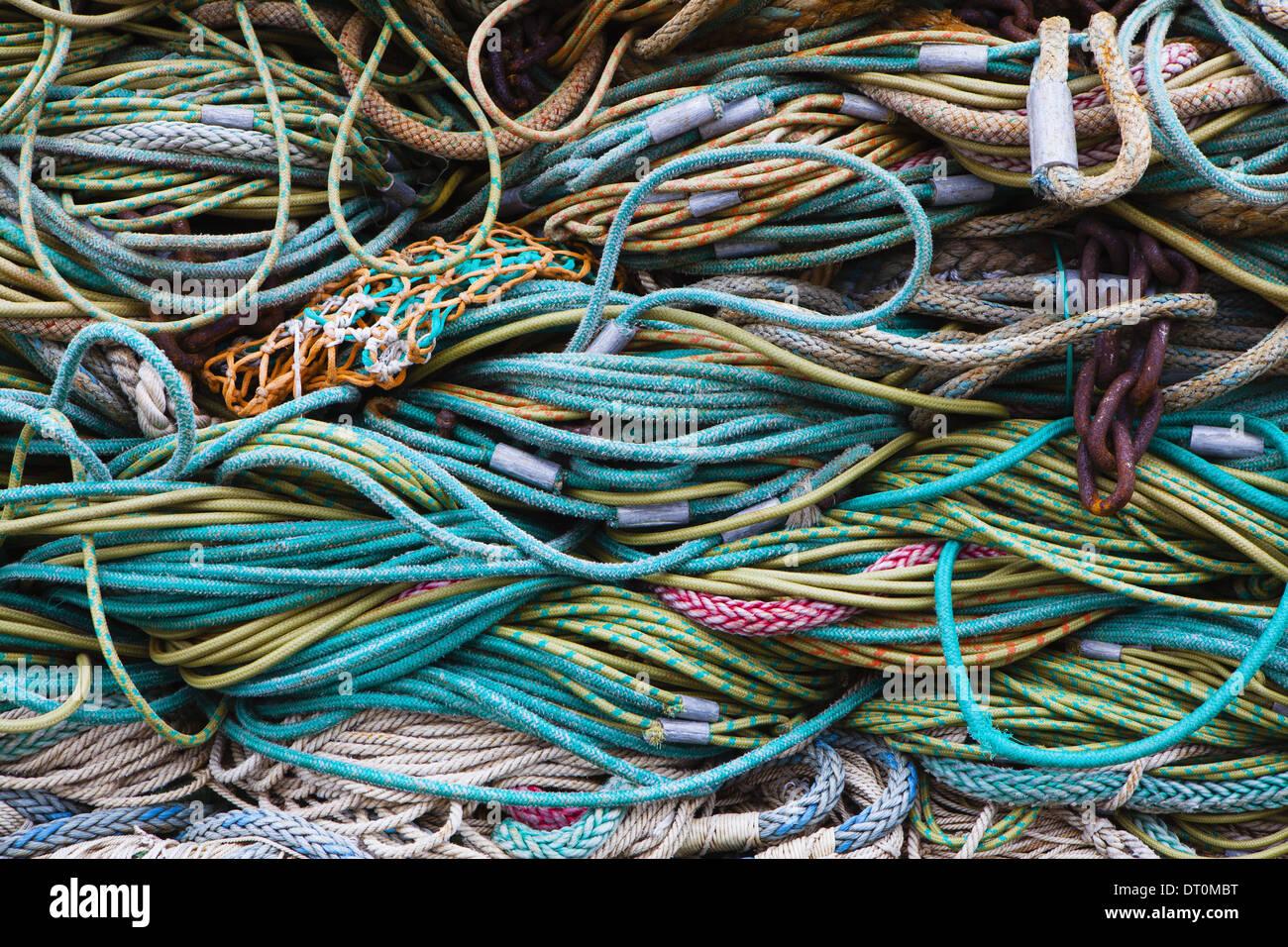 Seattle, Washington, EE.UU. redes de pesca comercial Foto de stock