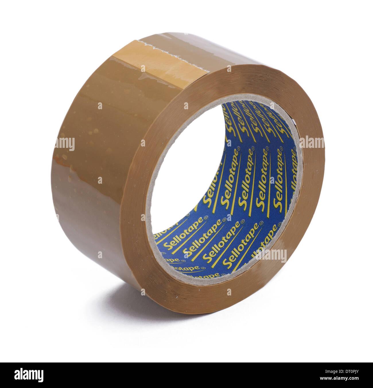 Rollo de cinta paquetería sellotape marrón Imagen De Stock