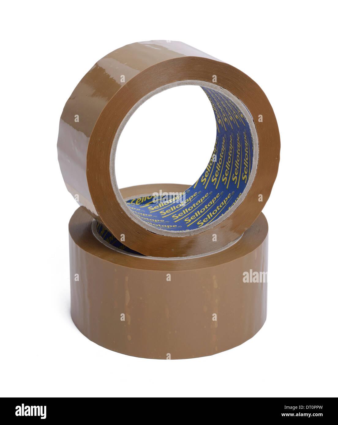 Dos rollos de cinta paquetería sellotape marrón Imagen De Stock