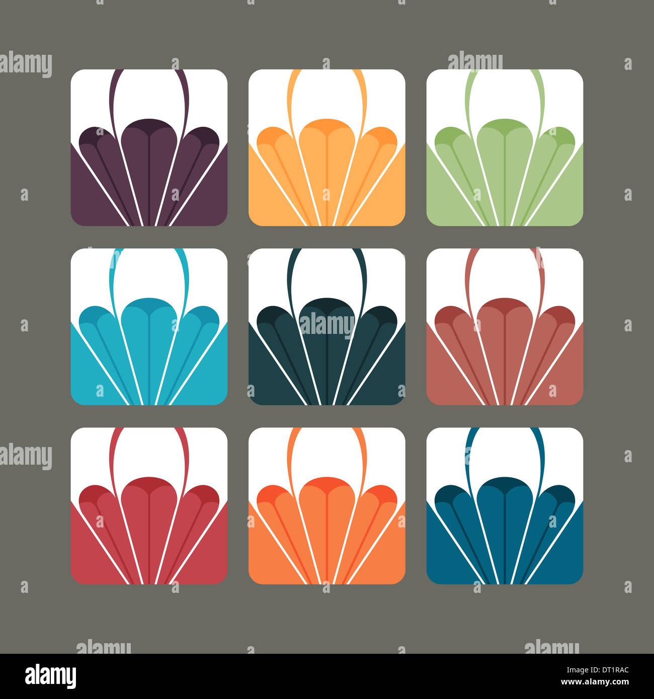 Conjunto de parapente vectores en las variantes del color Imagen De Stock