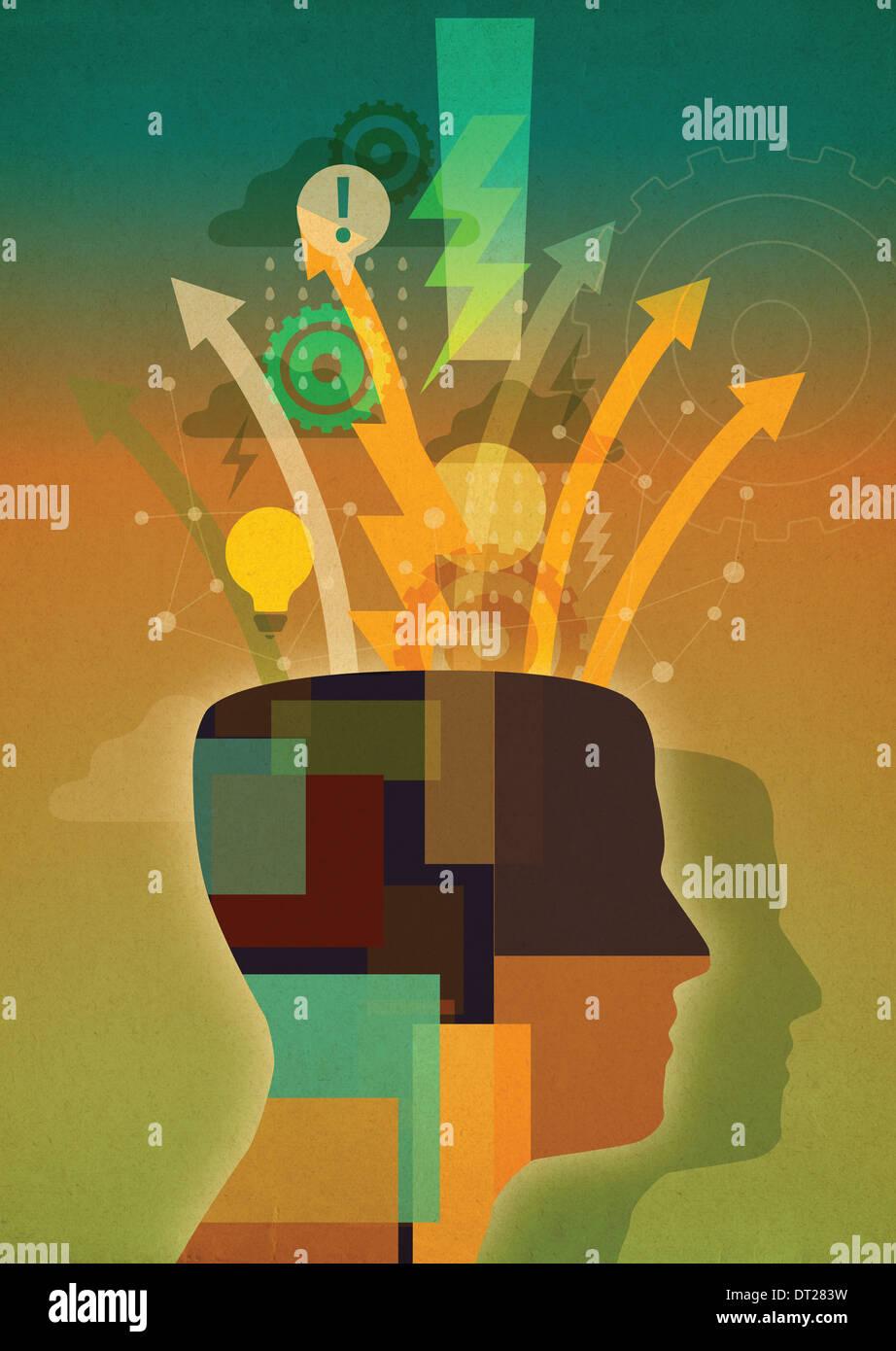 Collage ilustrativo de empresario innovador Imagen De Stock