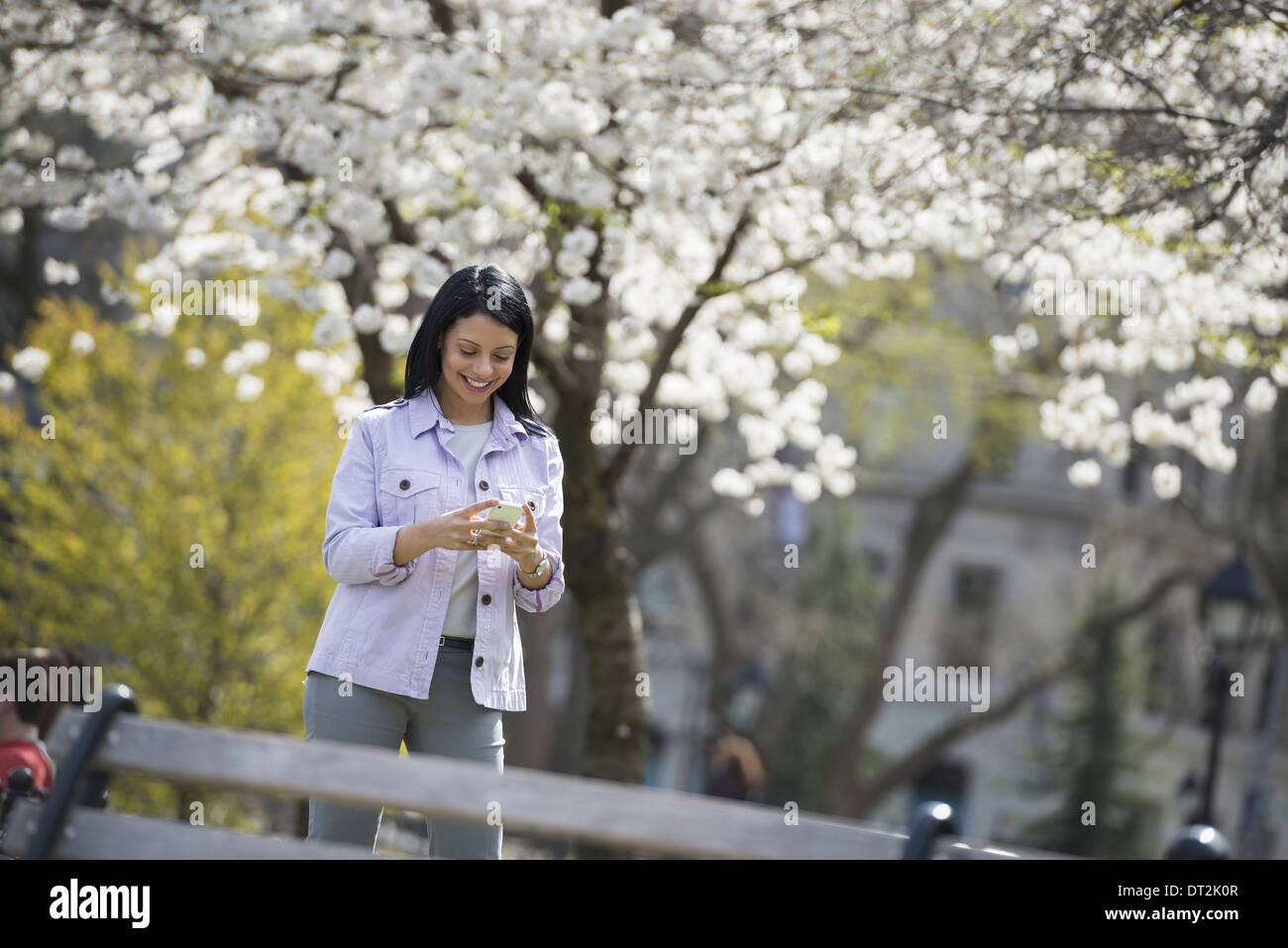 Afuera de la ciudad en la época de primavera en el parque de la ciudad de Nueva York en los árboles en flor blanca Una mujer sostiene a su teléfono móvil y sonriente Imagen De Stock