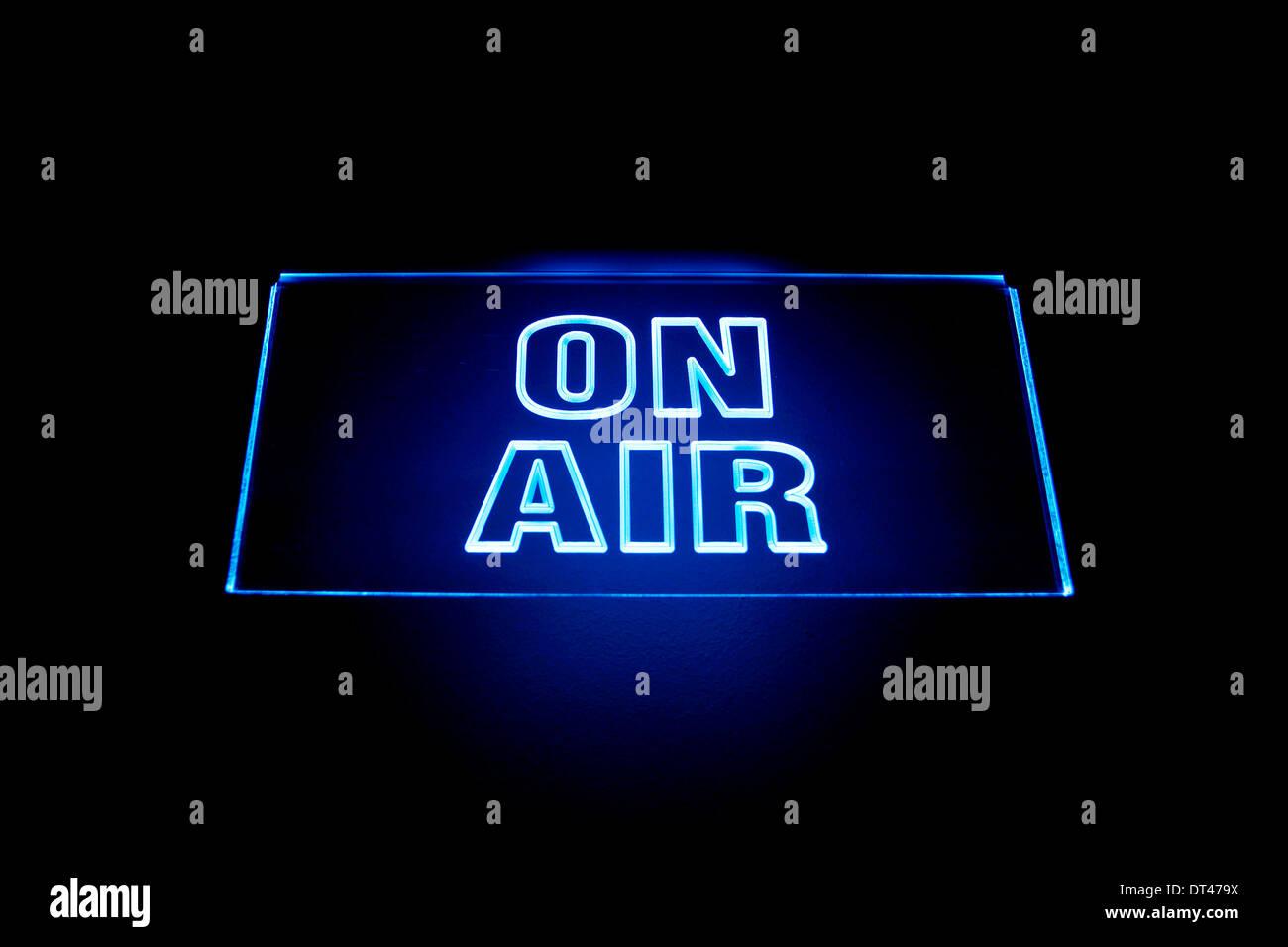 En la señal de aire en un estudio de radiodifusión Imagen De Stock