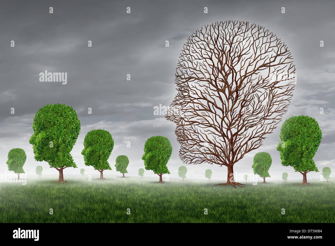 La muerte y el duelo humano como la pérdida de un ser querido concepto con un grupo de árboles con la Imagen De Stock