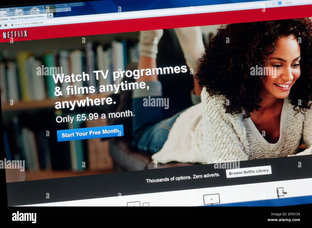 La página principal de Netflix, un proveedor de Internet on-demand Streaming de TV y películas. Imagen De Stock