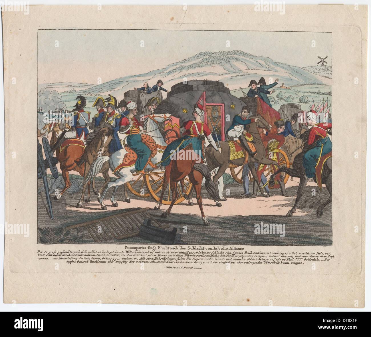 La huida de Napoleón tras la batalla de Waterloo. Artista: Campe, Agosto Friedrich Andreas (1777-1846) Imagen De Stock