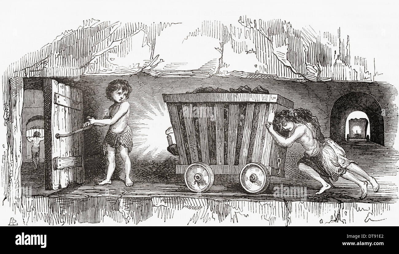 Escena dentro de una mina de carbón en inglés, a comienzos del siglo XIX. Los niños trabajadores. Imagen De Stock