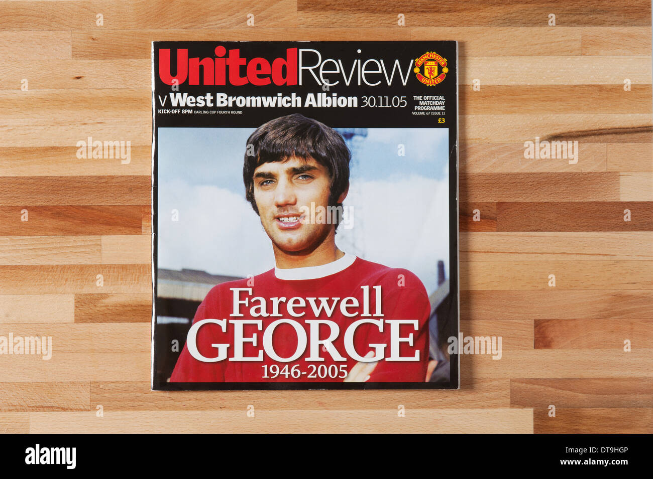 Manchester United vs WBA Programa. Despedida George Best. 30.11.05. Imagen De Stock
