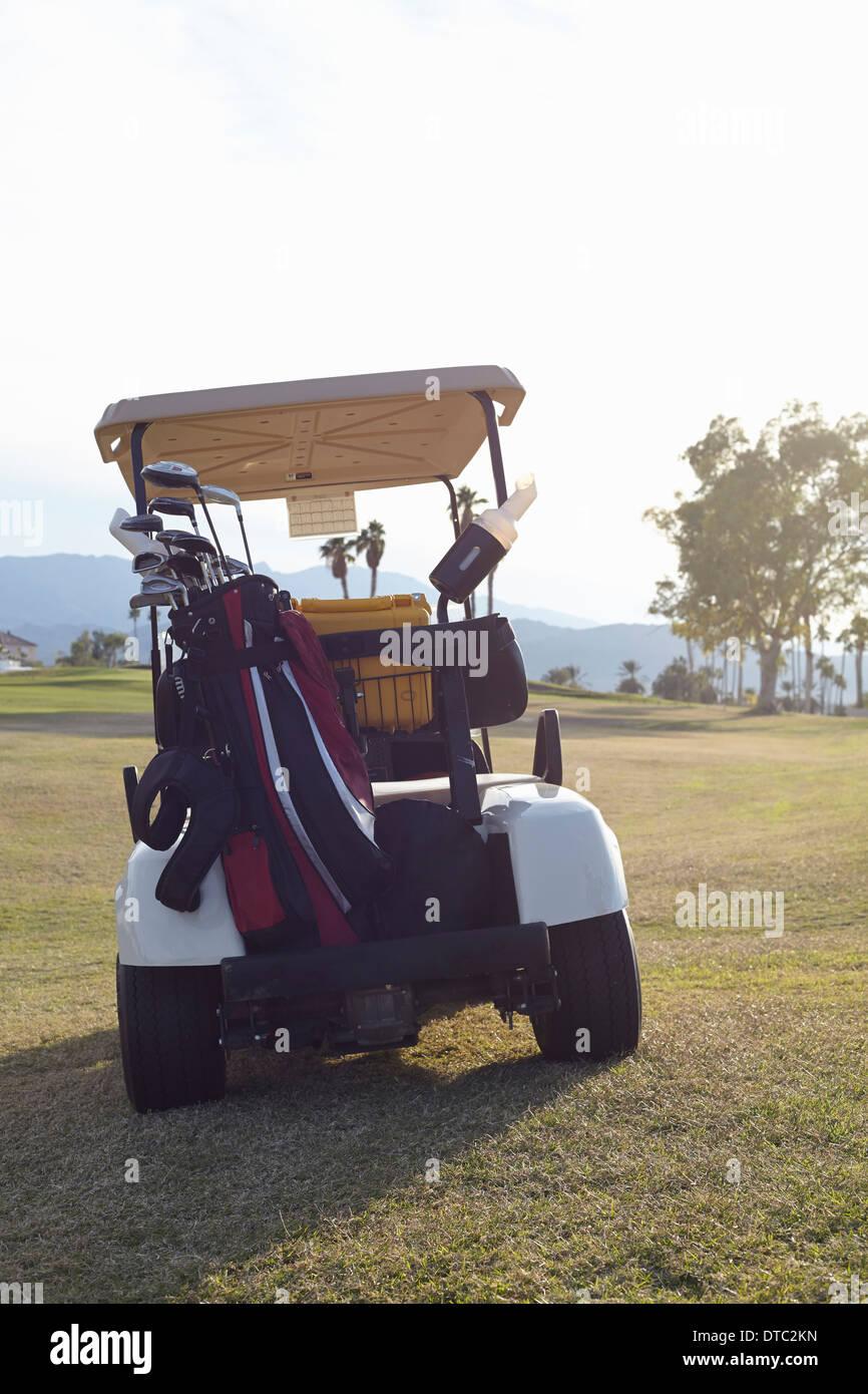 Cochecito de golf estacionado en verde Imagen De Stock