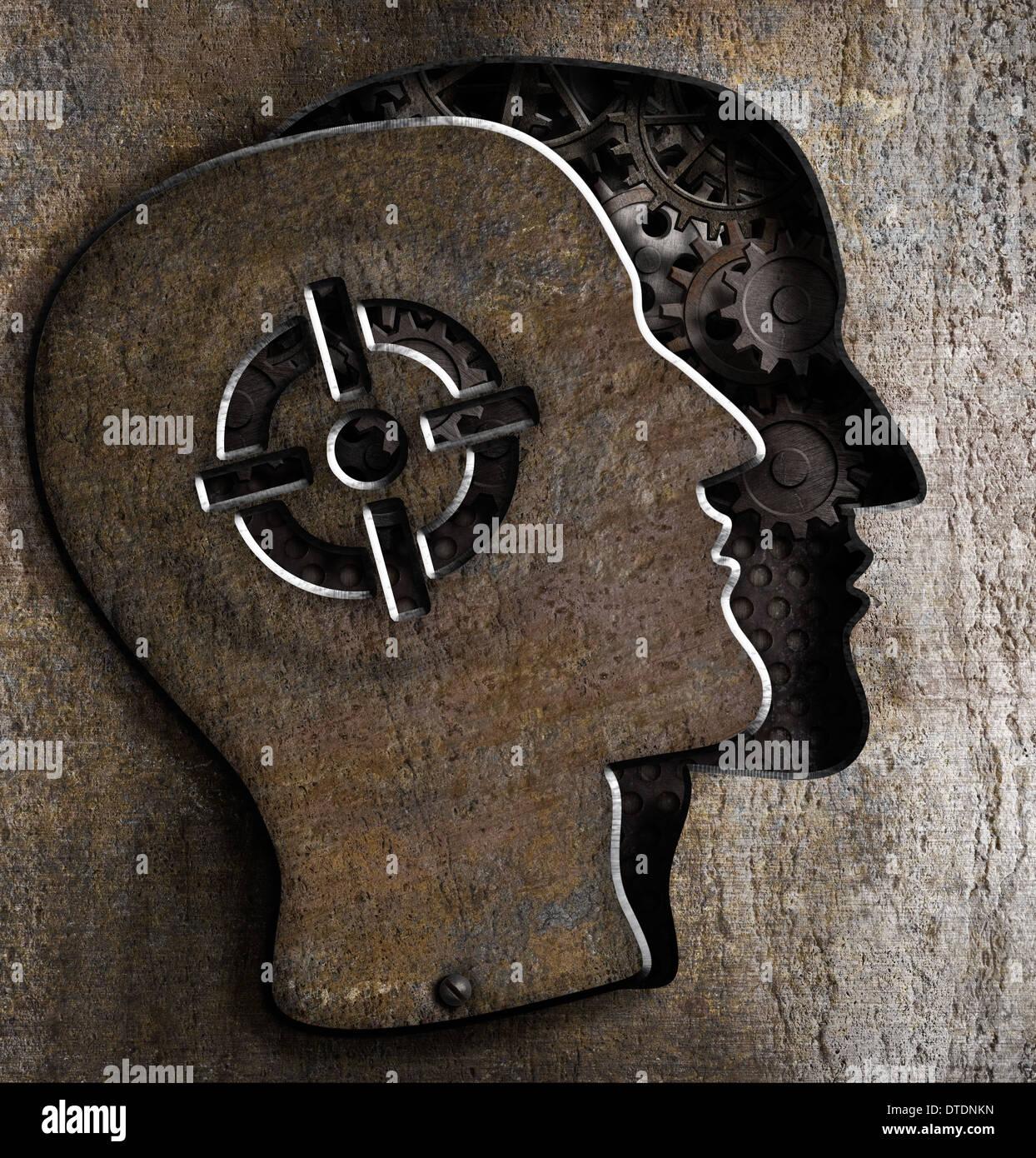 Cabeza humana con el objetivo de Marca en placa de metal Imagen De Stock