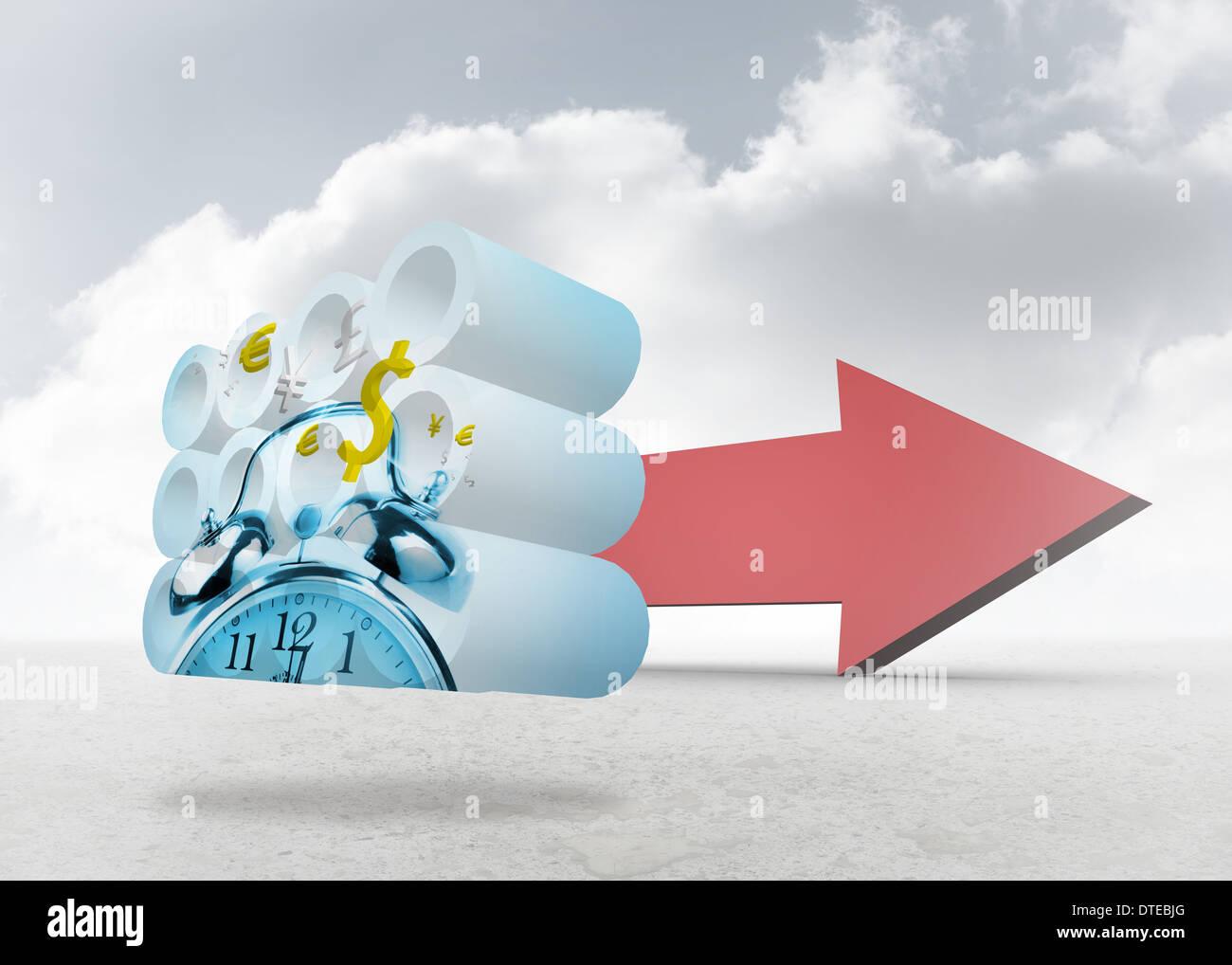 Imagen compuesta de tiempo es dinero concepto en pantalla abstracto Imagen De Stock