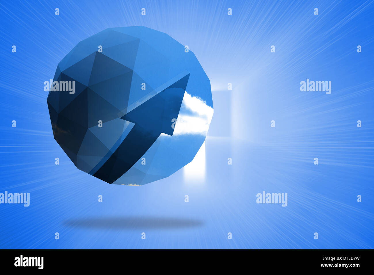 Imagen compuesta de flecha azul en pantalla abstracto Imagen De Stock