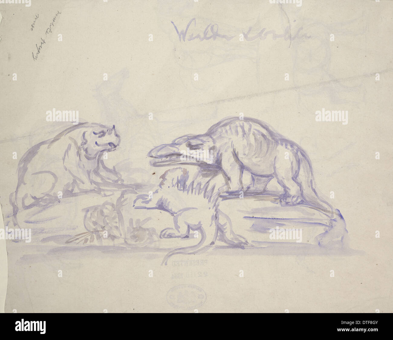 Pre-histórico criaturas por Benjamin Hawkins Imagen De Stock