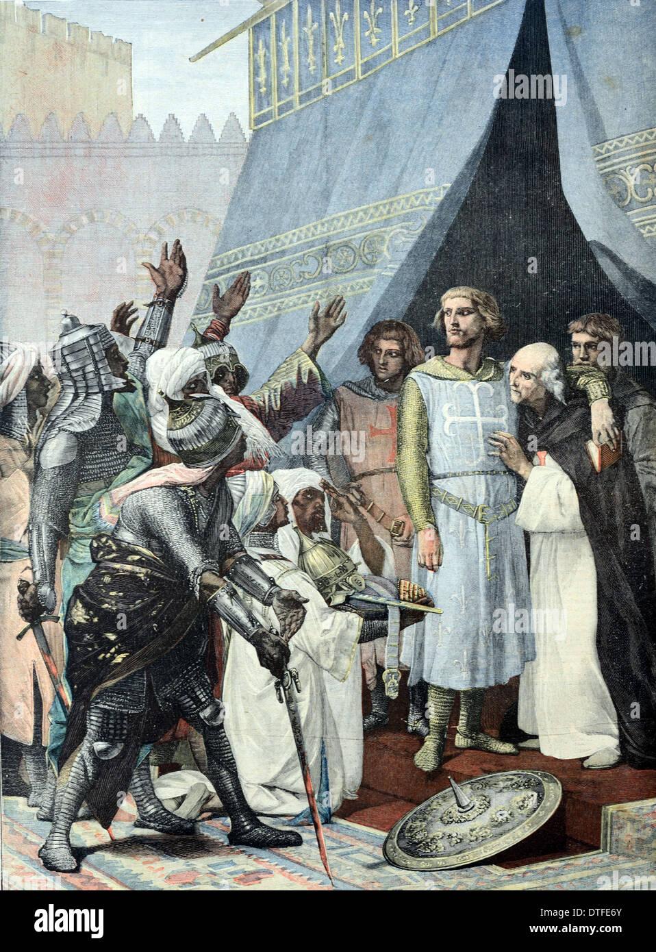 El rey Luis IX o San Luis IX Santa católica y el rey de Francia (1214-1270) en Jerusalén durante la Séptima Cruzada (c1248) Foto de stock