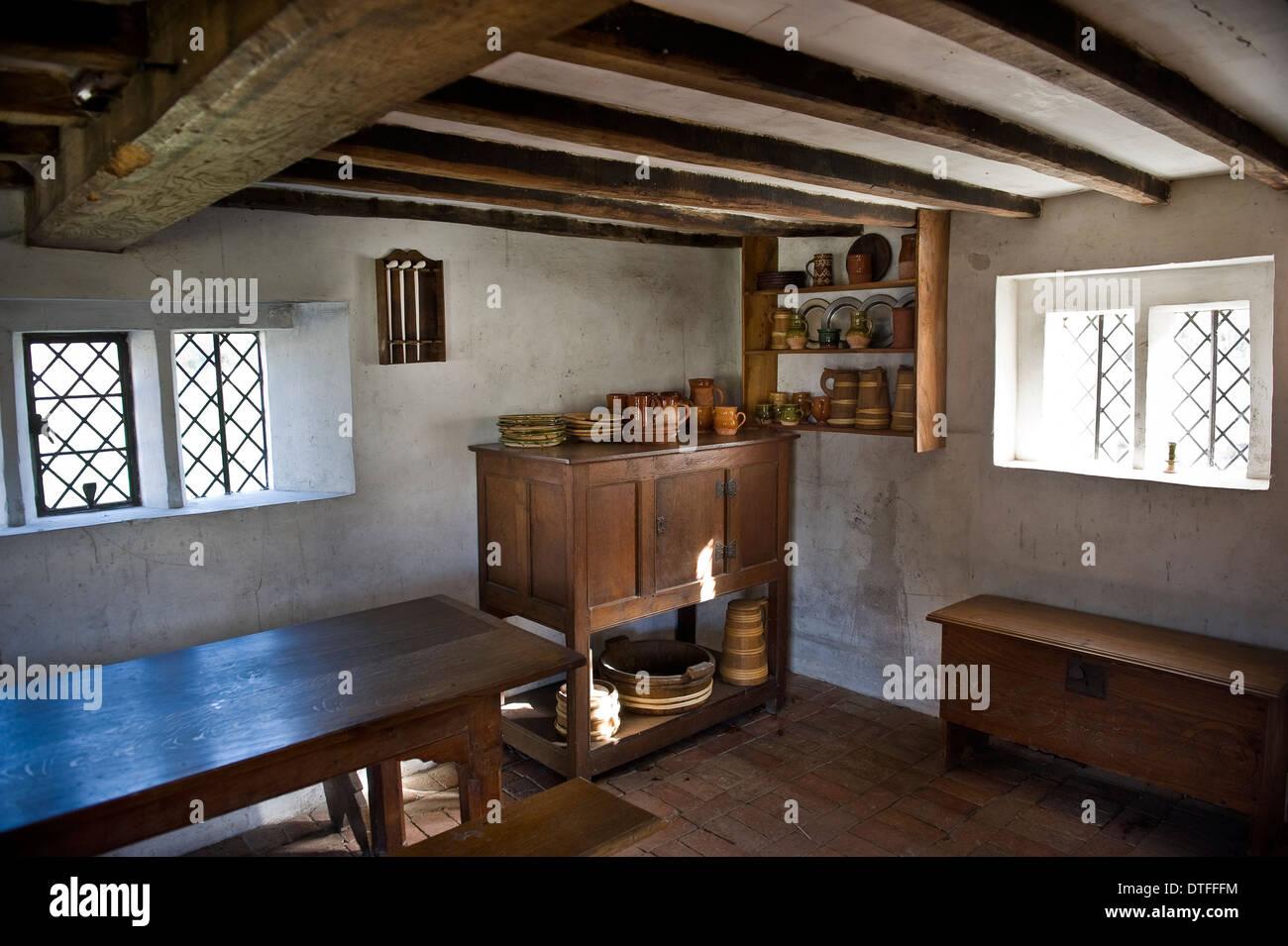 Interior doméstico en el Weald & Cerros Museo al Aire Libre en Singleton, cerca de Chichester, West Sussex, UK Imagen De Stock