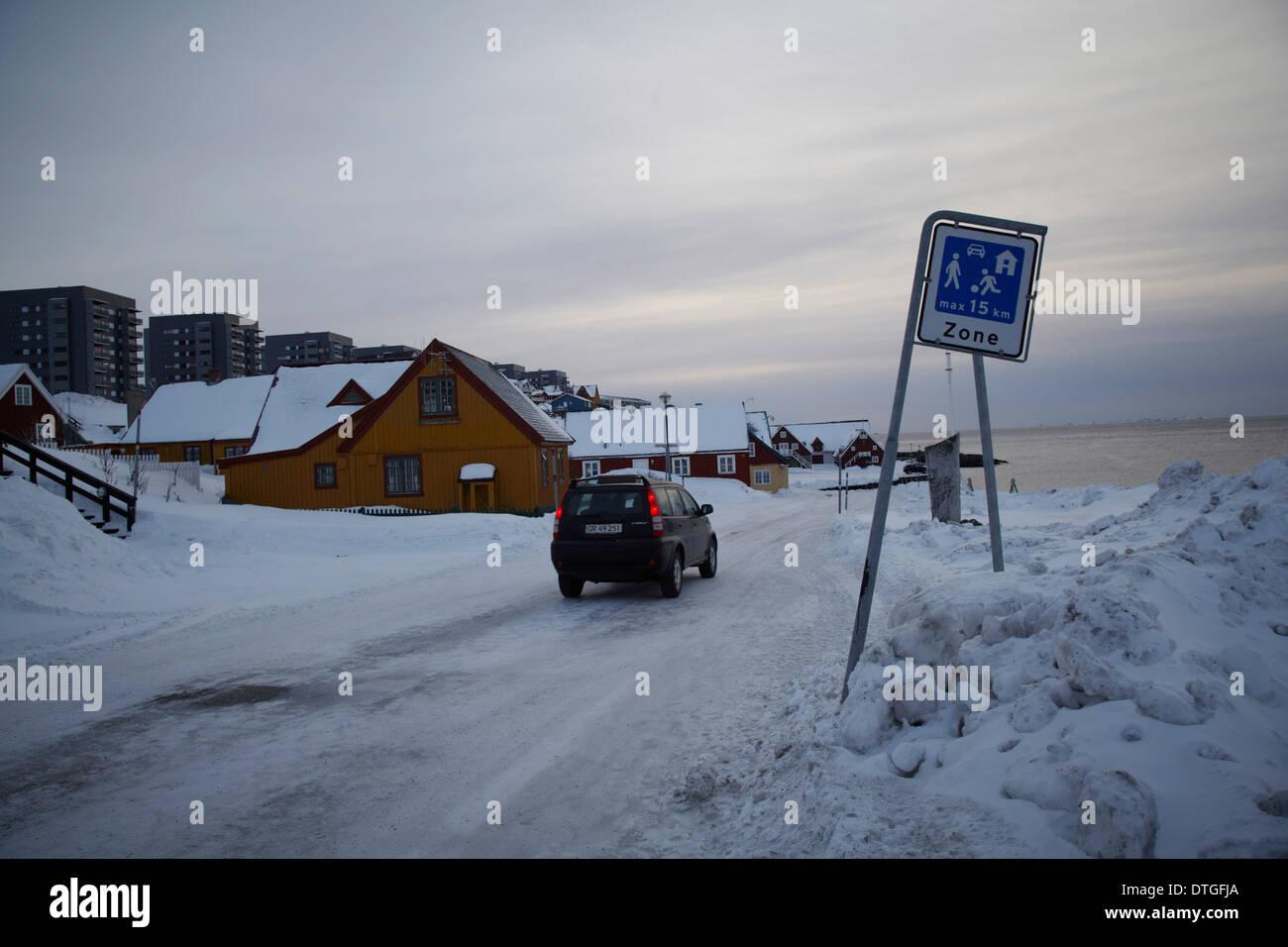 Imagen exterior de Nuuk y el Museo Natinal. Foto de stock