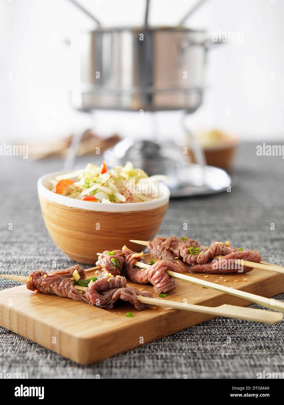 Fondue de carne Foto de stock