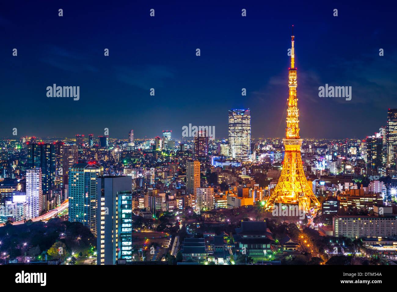 Tokio, Japón paisaje paisaje urbano vista aérea durante la noche. Imagen De Stock