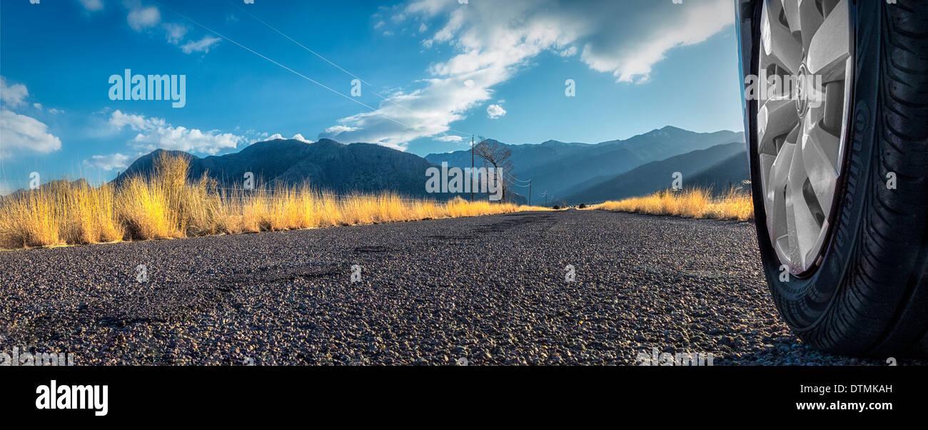 Un editorial,automoción imagen panorámica carretera abierta. Fotografiado cerca de Nuevo México Magdalena Foto de stock