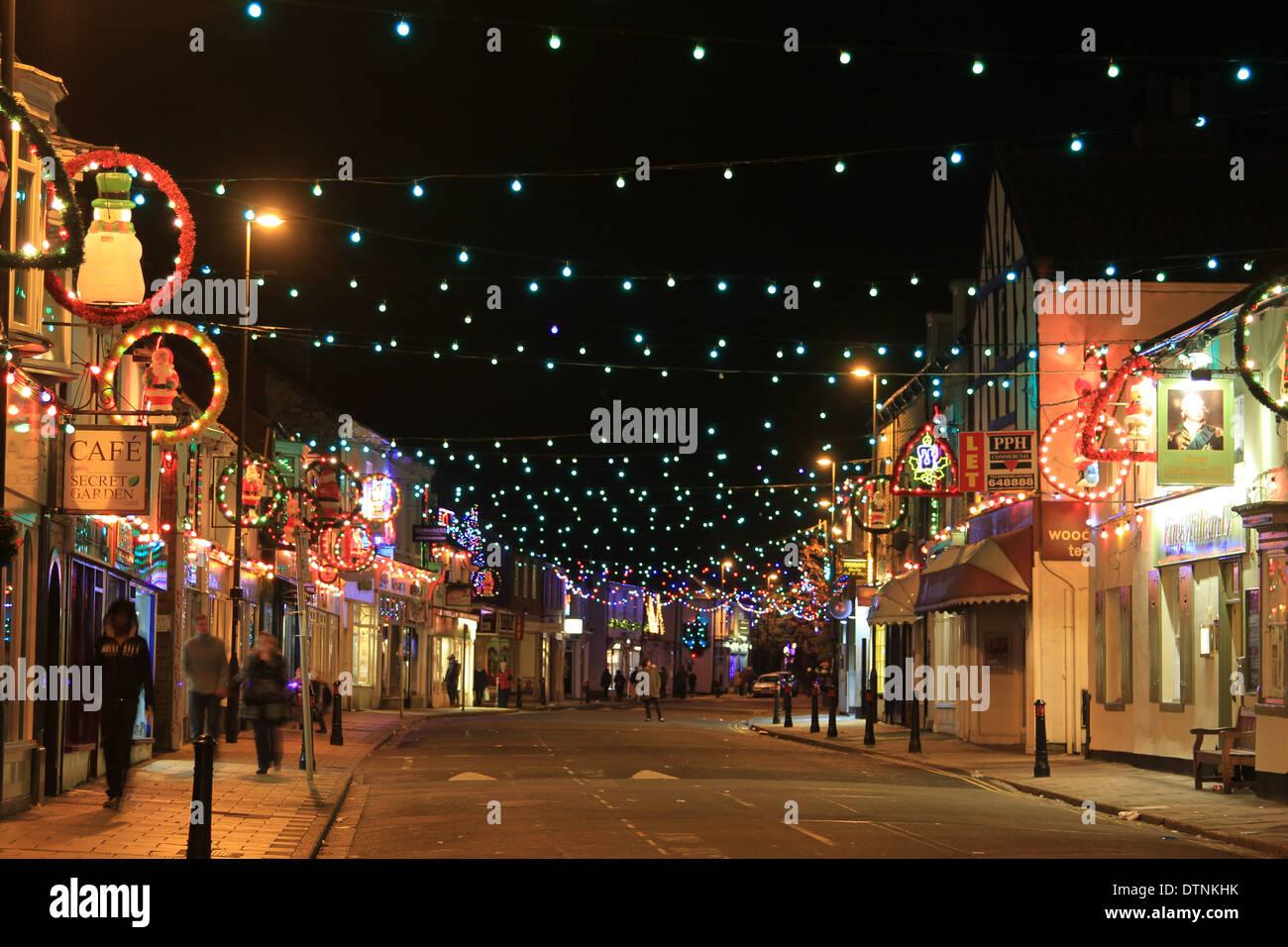 Las luces de Navidad, Hallgate, Cottingham, East Yorkshire Foto de stock