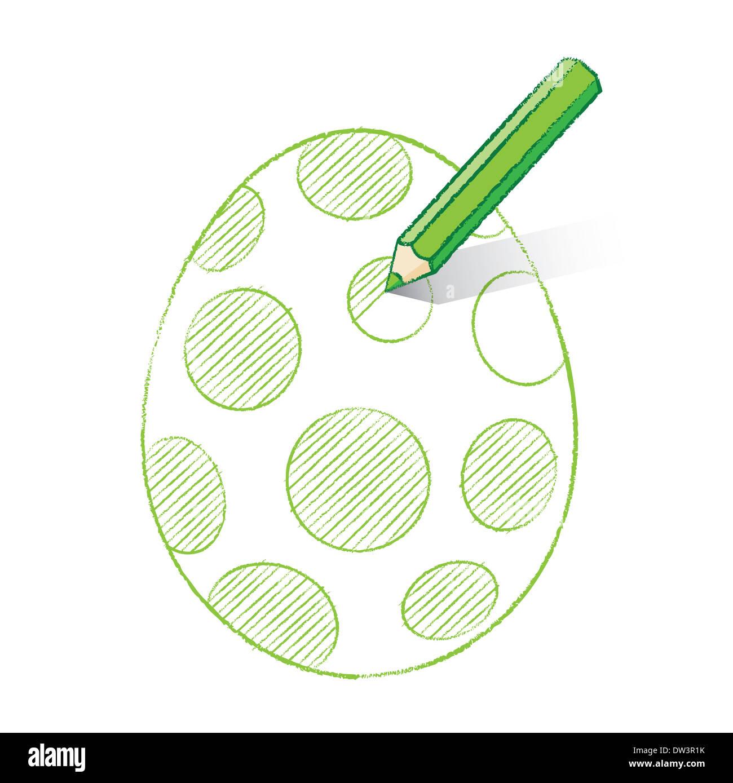 Lápiz Verde Con Sombra En El Huevo De Pascua Para Colorear Con