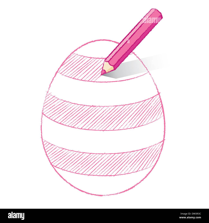 Lápiz De Color Rosa Con Sombra En El Huevo De Pascua Para Colorear