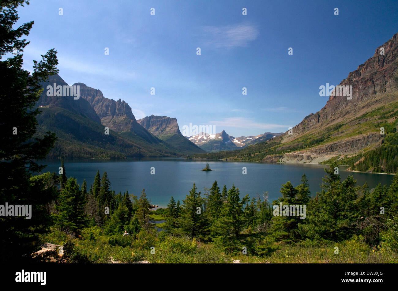 Santa María del Lago en el parque nacional de Glacier, Montana, EE.UU. Imagen De Stock