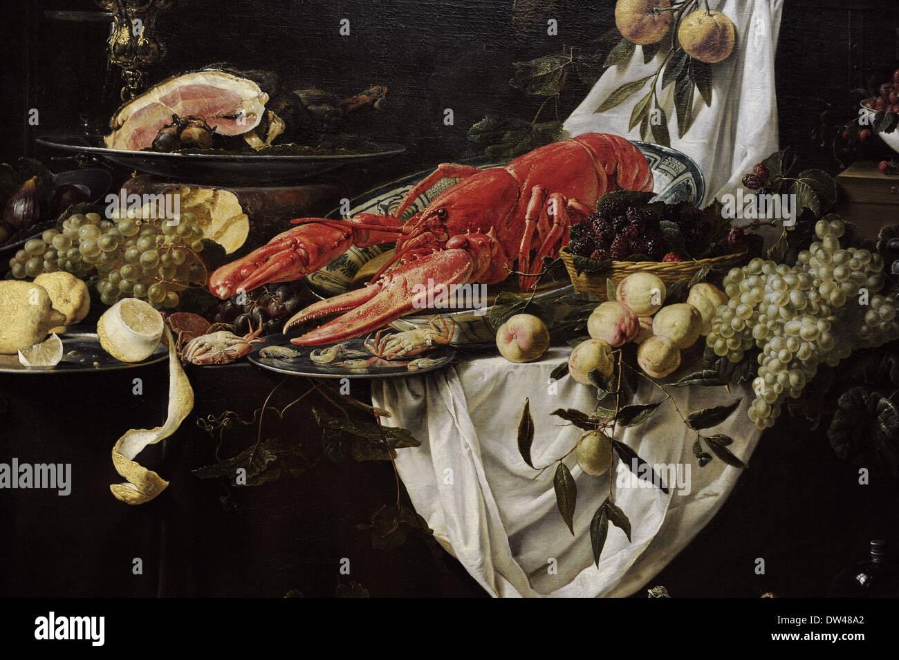 Adriaen van Utrecht (1599-1651/52). El pintor flamenco. Banquete Still Life, 1644. Detalle. Rijksmuseum. Amsterdam. Holland. Imagen De Stock