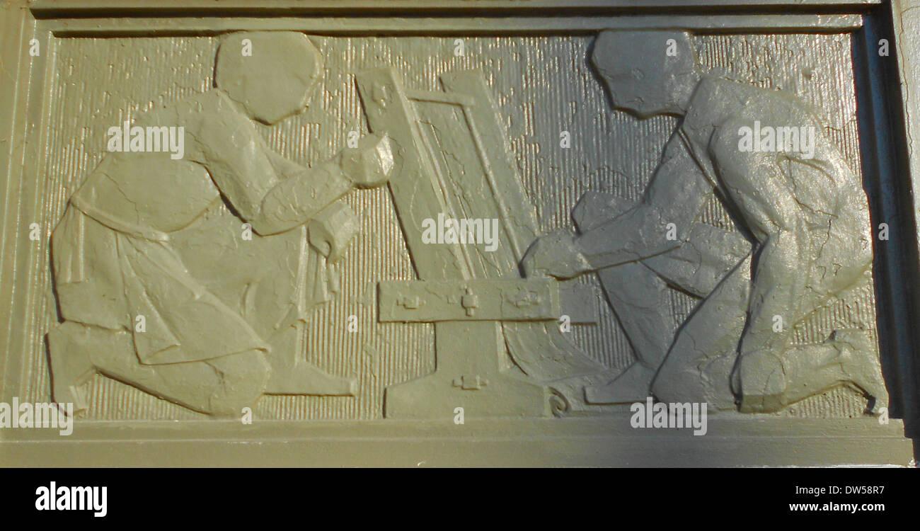 Panel desde el Philadelphia Escuela de terapia ocupacional. Edificio catalogado en el NRHP el 13 de junio de 2003. Ubicado en 419 South 19th Street en el barrio oeste de la plaza Rittenhouse de Filadelfia. Imagen De Stock