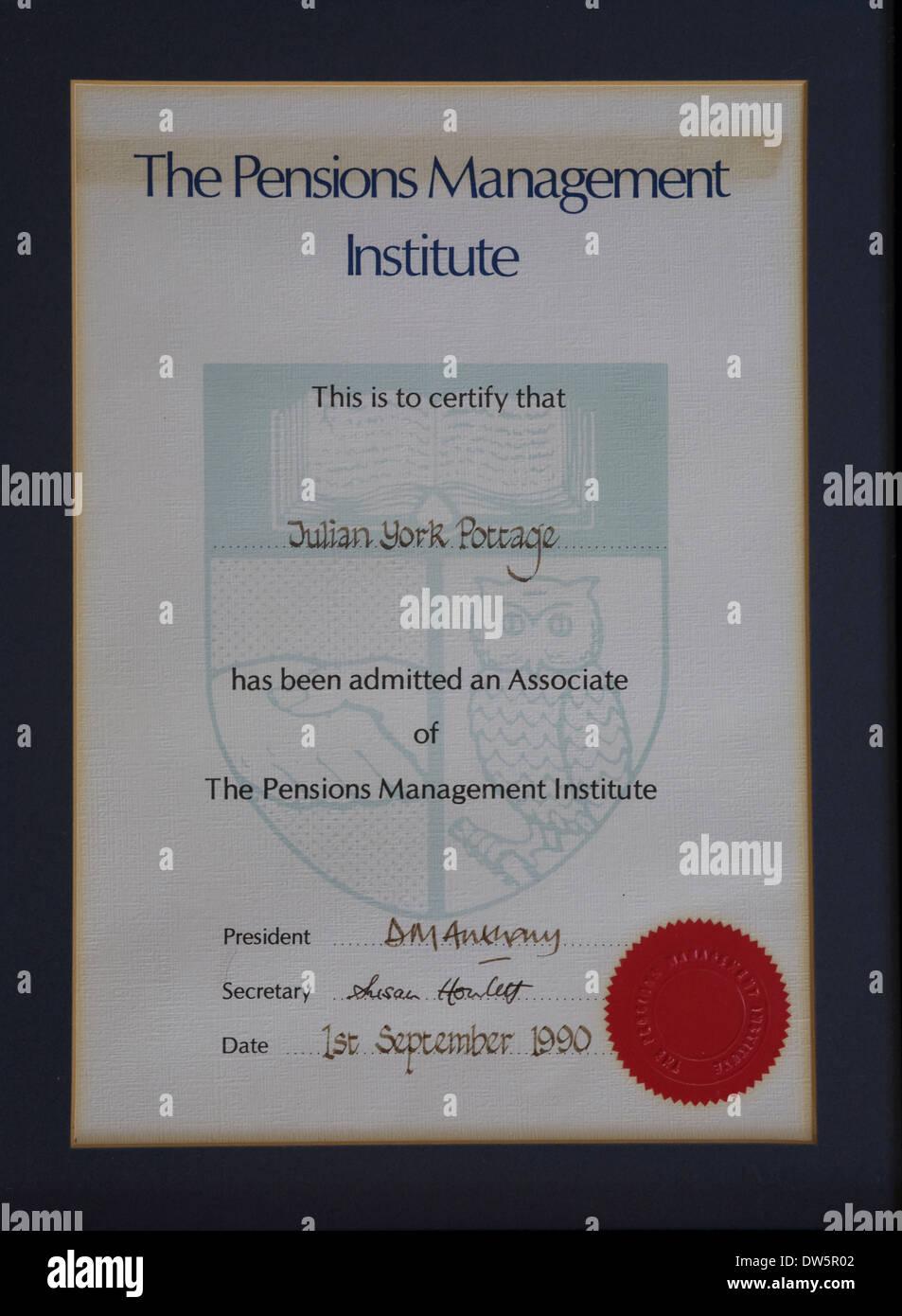 Instituto de Administración de pensiones, PMI, admisión, asociar, elección, calificación profesional Imagen De Stock
