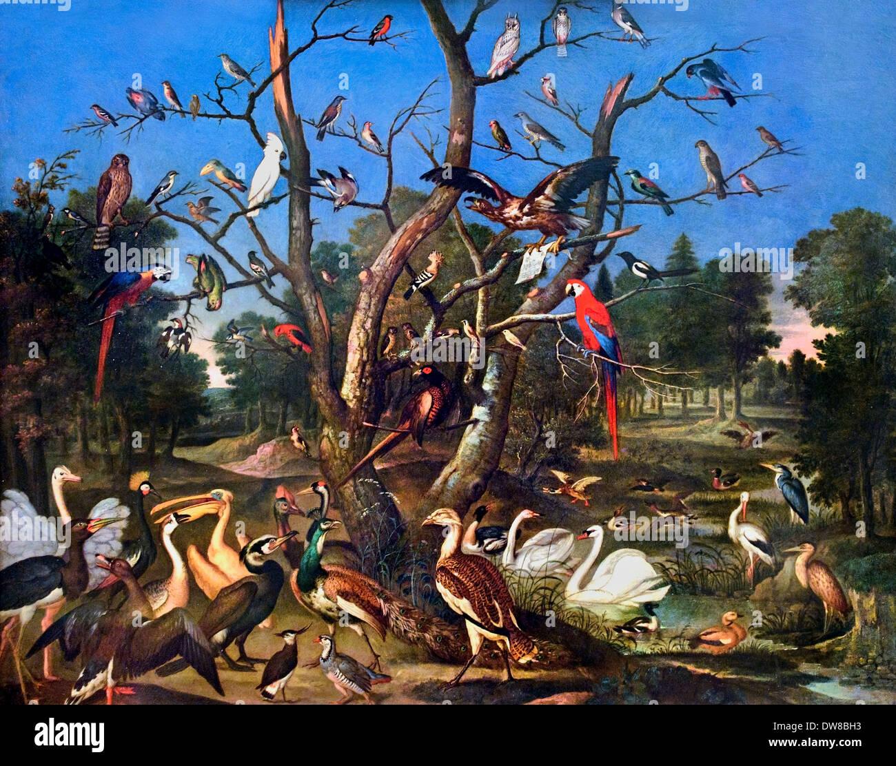 Konzert der Vogel - Concierto de Aves 1670 Franz de Hamilton alemán Alemania Imagen De Stock