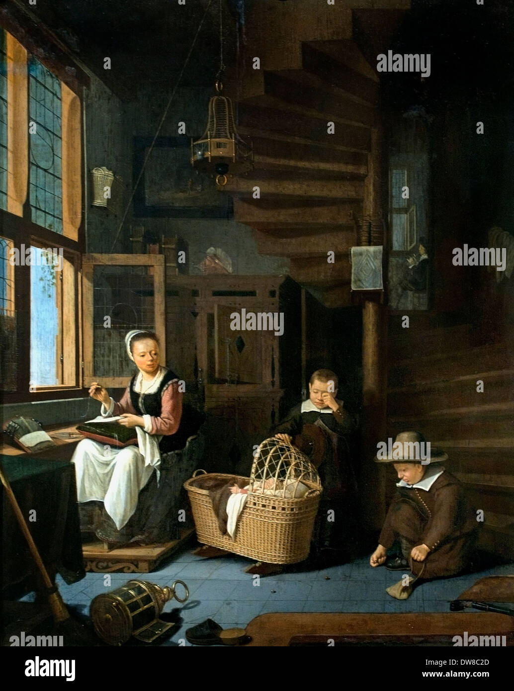 Adriaen van Gaesbeeck 1621 - 1650 madre coser con dos chicos en la cuna 1645 Holanda Holandesa Imagen De Stock