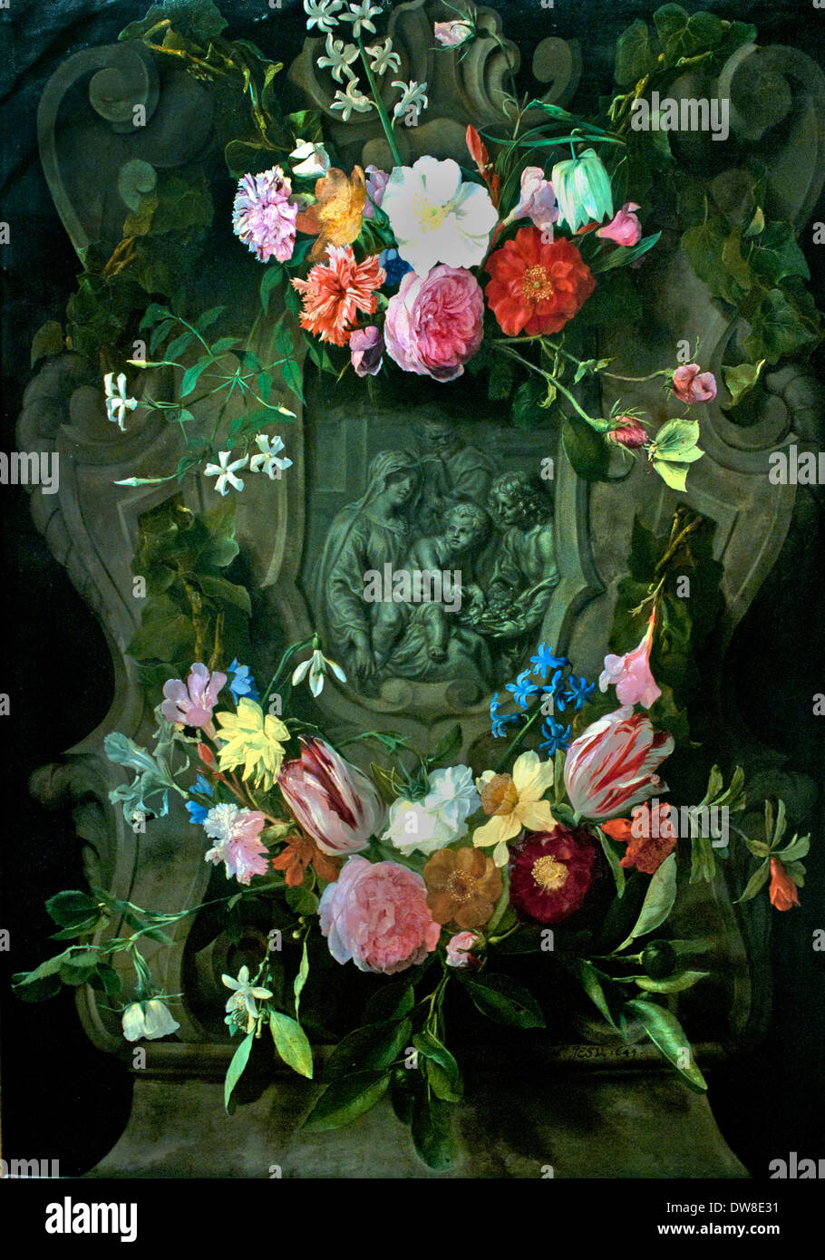 Madonna con decoración floral de alivio 1644 Daniel Seghers 1590 - 1661 Cornelis Schut 1597-1665 belga de Flandes Bélgica Imagen De Stock