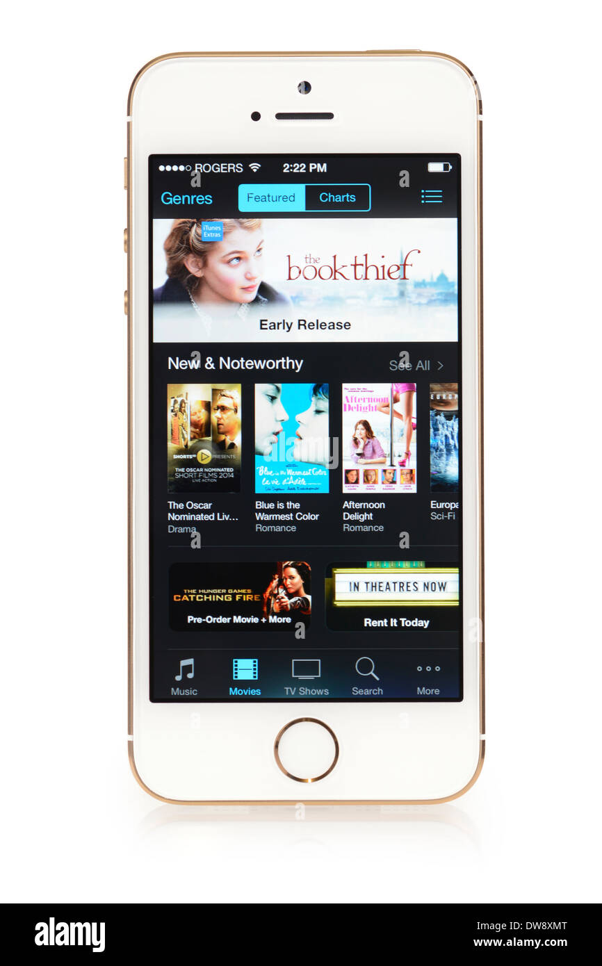 ITunes Movie Store, App corriendo en el iPhone 5S iPhone 5 S Imagen De Stock