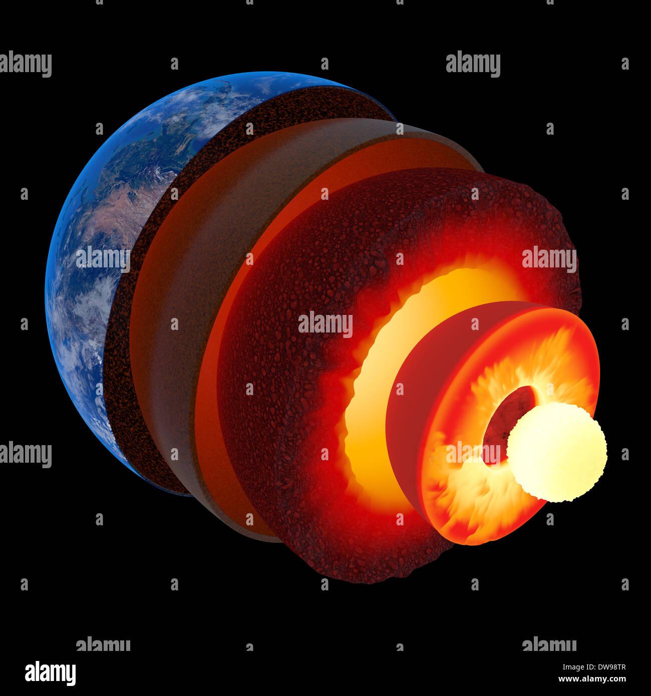 La estructura del núcleo de tierra ilustrado con estratos geológicos según escala - aislados en negro (los mapas de textura de la NASA) Imagen De Stock