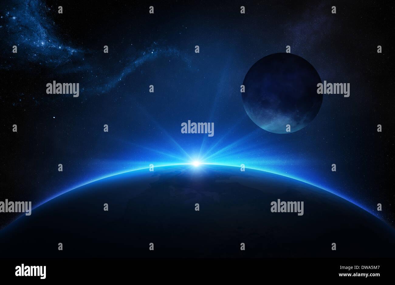 La fantasía, la tierra y la luna en el espacio profundo con amanecer Imagen De Stock