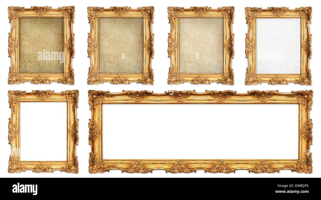 Antiguo marco dorado con diferentes vacío grunge lienzo agrietado y ...