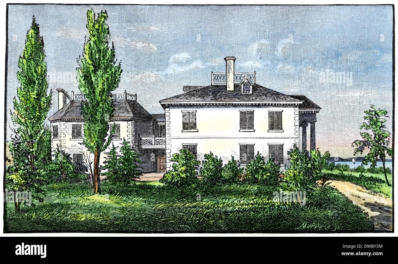 Roger Morris, mansión de Washington, sede de Harlem, 1776. Xilografía coloreada a mano Foto de stock