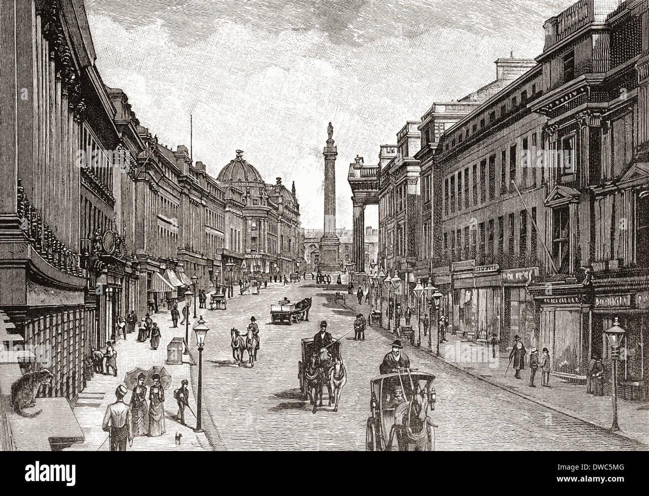Grey Street, Newcastle-upon-Tyne, Inglaterra en el siglo XIX. Imagen De Stock