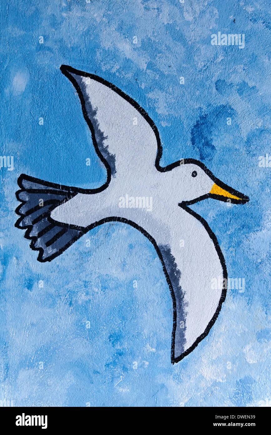 Seagull, pintura, Westward Ho!, Devon, Inglaterra Imagen De Stock