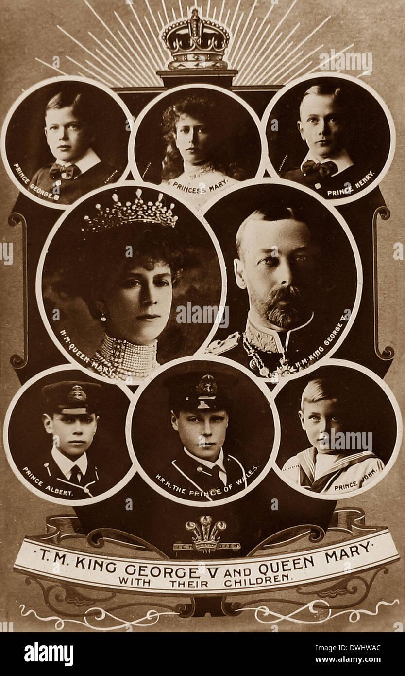 King George V Queen Mary y sus hijos Imagen De Stock