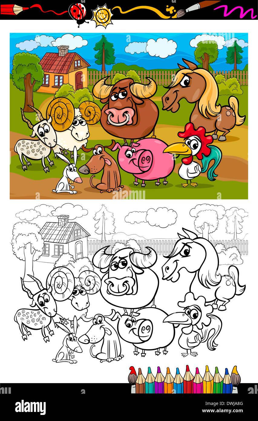 Libro para colorear o página ilustración caricatura en blanco y ...