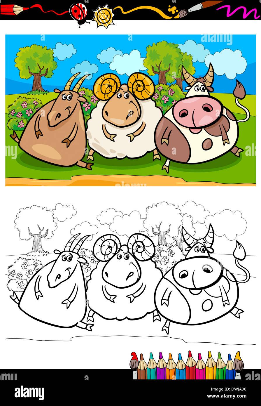 Libro para colorear o página Cartoon ilustración del país escena ...
