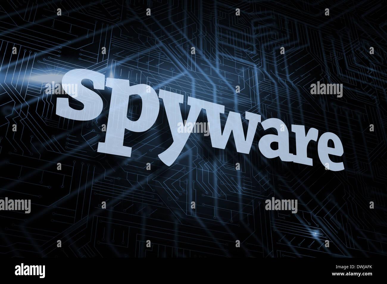 Spyware contra el fondo azul y negro futurista Imagen De Stock